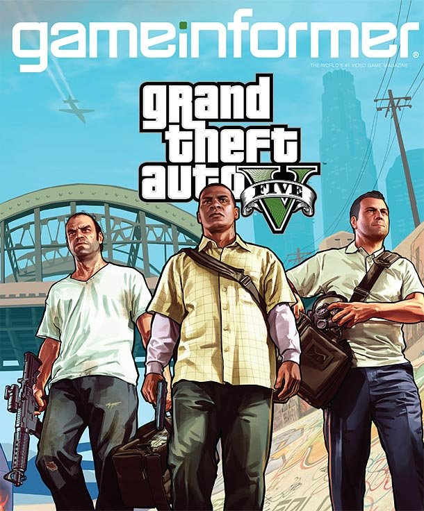 The cover of the December GameInformer with GTA V + new art