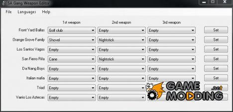 Gang weapon editor