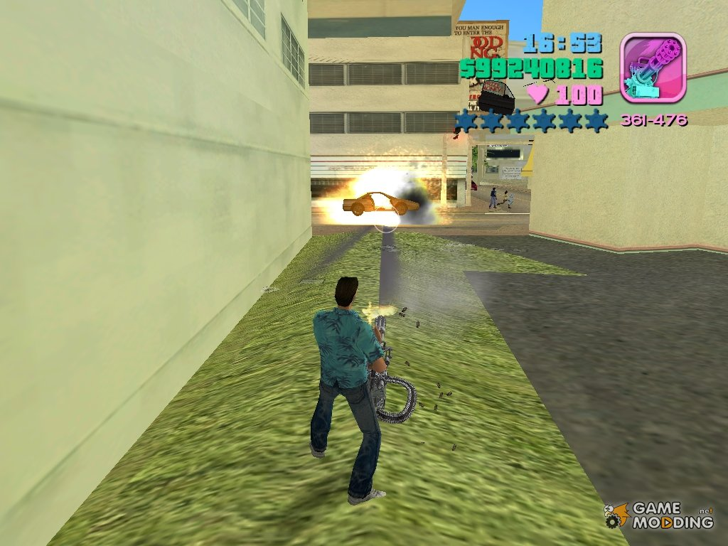 Hand held m134 minigun for gta vice city top view