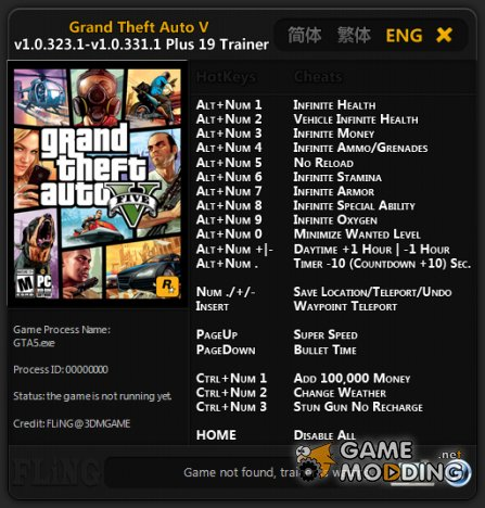 Grand Theft Auto V +19 Trainer by FLiNG